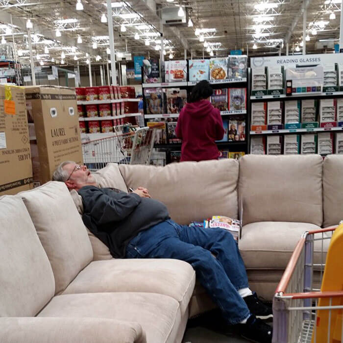 50 Hilarious Pictures Of 'Miserable Men' Waiting While Their Wives Were Shopping 22