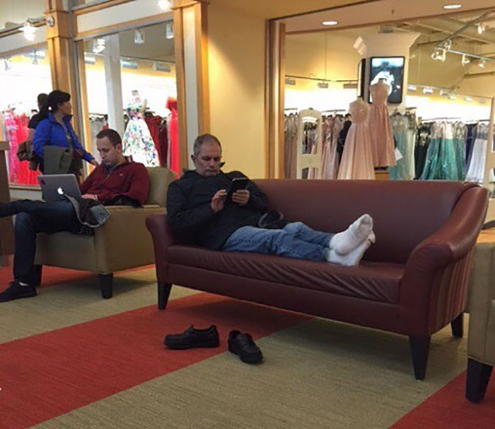 50 Hilarious Pictures Of 'Miserable Men' Waiting While Their Wives Were Shopping 44