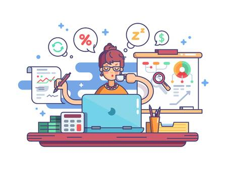 68480151 Stock Vector Woman Accountant Doing Financial Reports At Workplace Illustration