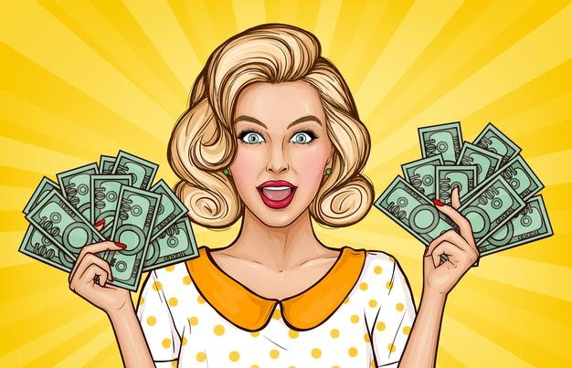 Vector Pop Art Illustration Enthusiastic Girl With Cash Blonde Young Woman Holds Money Bills Hands Advertising Poster Announcement Discounts Sales Style Popart_88138 562